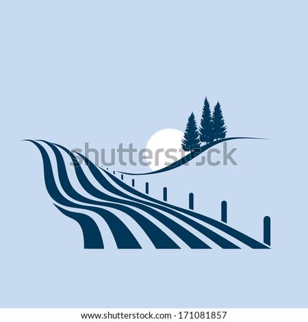 stylized illustration showing an agrarian landscape - stock vector