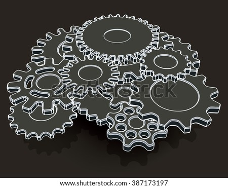 Stylized image of a mechanism consisting of gears. Vector illustration - stock vector