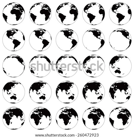 Stylized images of different rotation phases of globe. Vector illustration isolated on white background - stock vector