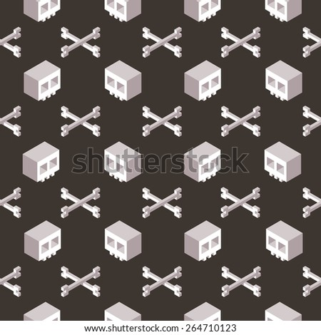 Stylized isometric cartoon skull and crossbones seamless pattern. - stock vector