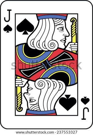 Stylized Jack of Spades with strong outline - stock vector