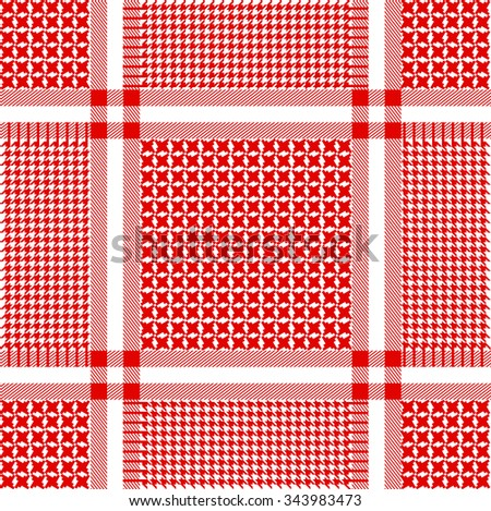 Stylized keffiyeh vector seamless pattern. Traditional Middle Eastern headdress. Shemagh military textile collection. Red and white. Backgrounds & textures shop. - stock vector