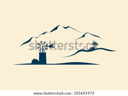 stylized landscape of Majorca - stock vector