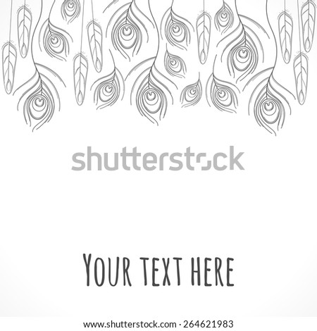 Stylized linear peacock  feathers template. Monochromatic vector illustration. Place for your text - stock vector