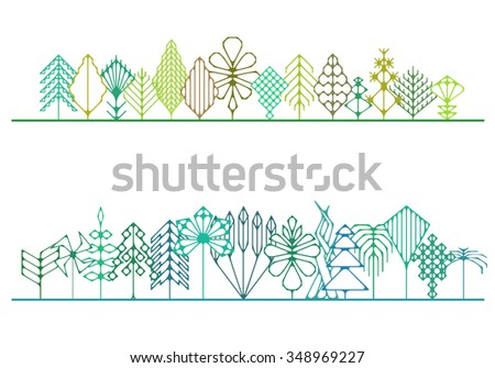 Stylized magical forest hipster - stock vector