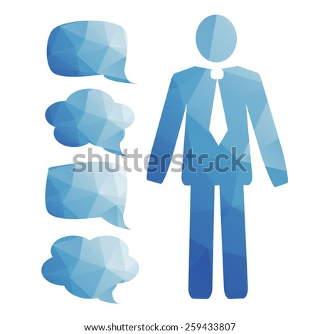 stylized man in a tie and a set of bubbles for thought - stock vector