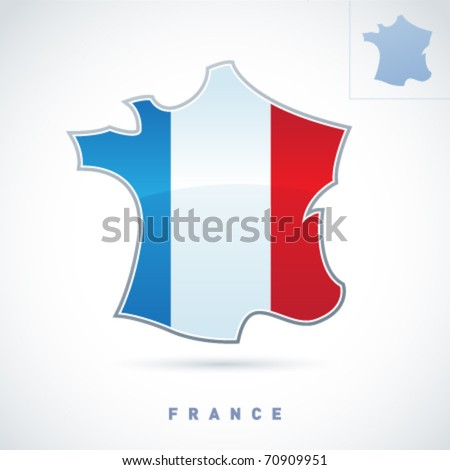 Stylized map of France. Vector. Editable. - stock vector