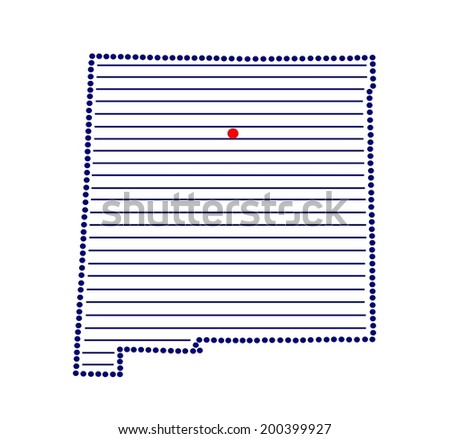 Stylized map of New Mexico with marked capital (vector) - stock vector