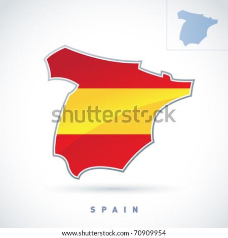 Stylized map of Spain. Vector. Editable. - stock vector