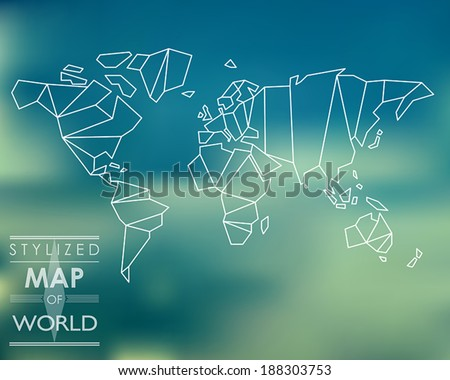 stylized map of world. world map concept. - stock vector
