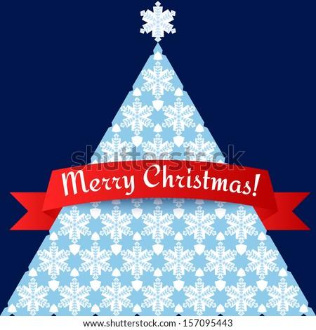 Stylized minimalistic Christmas tree card vector illustration eps 10 - stock vector