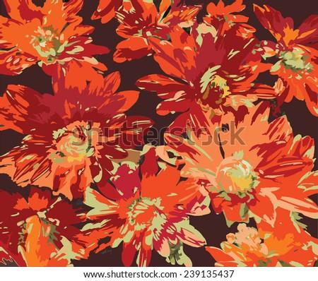 Stylized orange chrysanthemums on dark background - stock vector