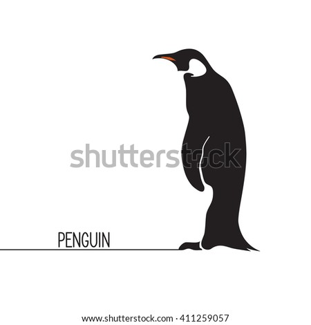 Stylized penguin icon - stock vector