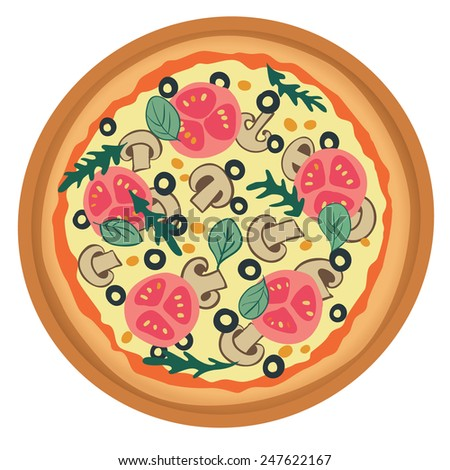 Stylized pizza with tomato, mushrooms and olives. Vector illustration.  - stock vector