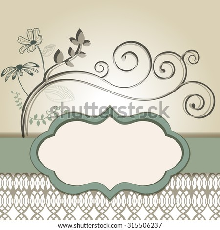 Stylized placard with bottom pattern and coil flourish  - stock vector