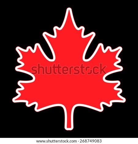 stylized red maple leaf with white and red contour on a black background - stock vector