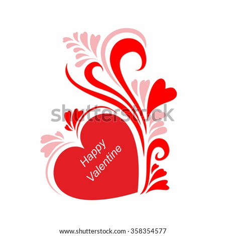 Stylized red rose pattern with the words in my heart I love you Valentine's day in the vector - stock vector