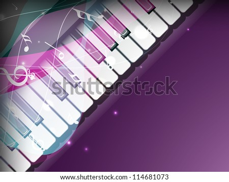 Stylized retro musical background with piano and notes. EPS 10 - stock vector