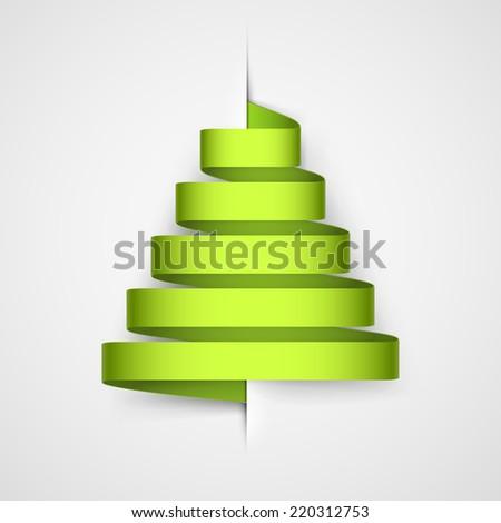 Stylized ribbon of Christmas tree. - stock vector