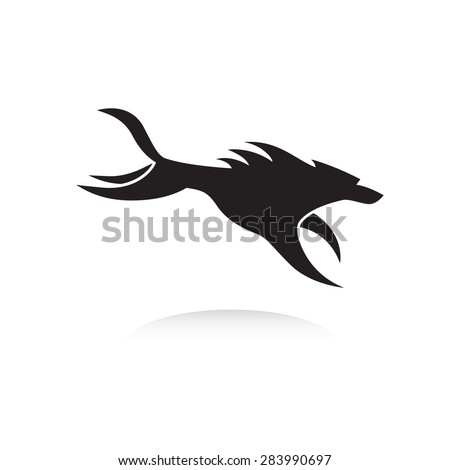Stylized running wolf logo in black and white. Hunting wolf or dog image. Vector illustration. Works well as a tattoo, logo, print or mascot. - stock vector