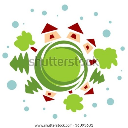 Stylized rural houses and different green trees. - stock vector