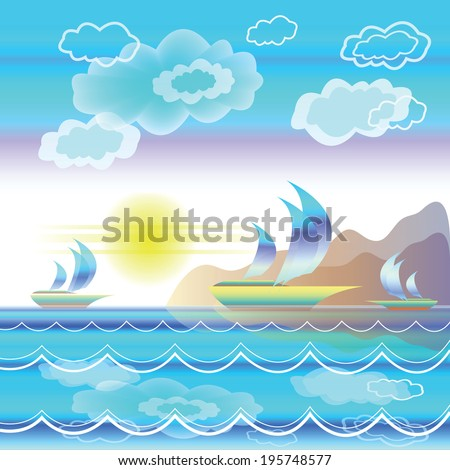 Stylized sea landscape with sailboats on waves on background of mountains and blue sky with clouds - stock vector
