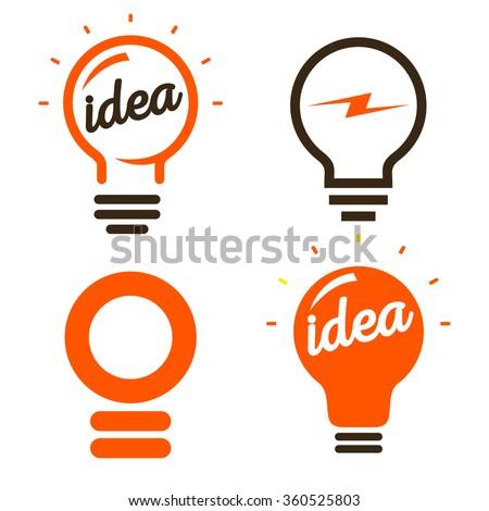 Stylized set of vector lightbulbs. Collection colorful logotypes. New idea symbols. Flat bright cartoon bulbs. White and orange colors. Orange sign. Idea icon. Circle logo.  - stock vector