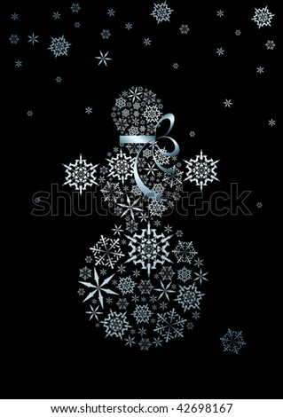 Stylized snowman made from silver snowflakes (vector) - stock vector