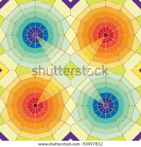 Stylized spider web seamless pattern with colorful tiled background Stained glass effect. - stock vector