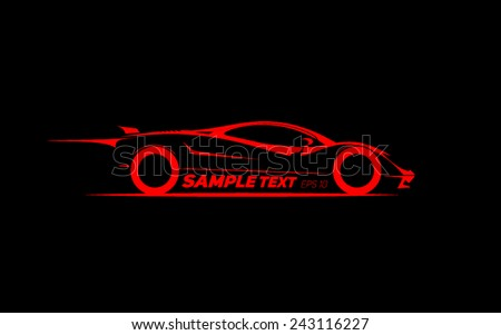 stylized sports car coupe - stock vector