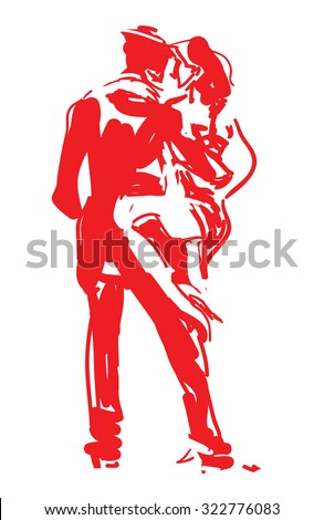 Stylized Tango Dancers in Red - stock vector