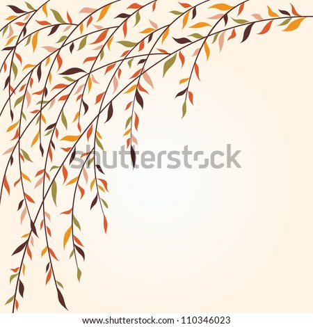 Stylized tree branches with leaves. Autumn - stock vector