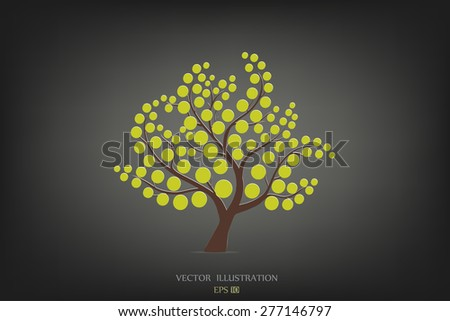 Stylized tree on black background. Vector illustration. - stock vector