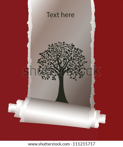 stylized tree under a scrap of paper, cover, card - stock vector