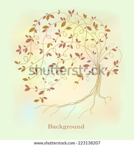Stylized tree with a magical background - stock vector