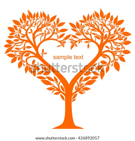 Stylized tree with leaves and flowers in the shape of a heart in vector graphics - stock vector