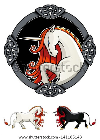 Stylized Unicorn in ornamental frame, fairy tale creature, vector illustration - stock vector