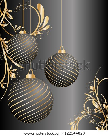 stylized vector Christmas ball on decorative background - stock vector