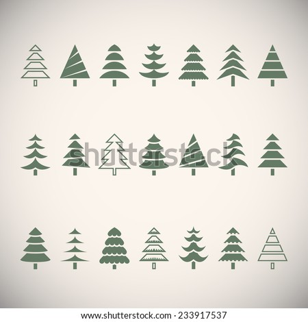 Stylized vector Christmas trees collection. Isolated on light grey background vector illustration - stock vector