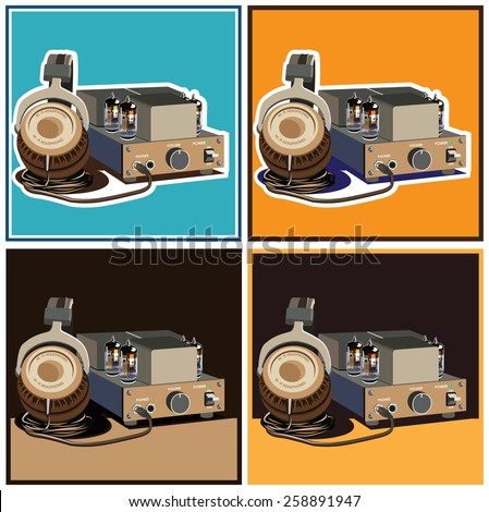 stylized vector composition on the theme of speakers, amplifiers, receivers, headphones, etc. retro lamp amplifier and headphones - stock vector