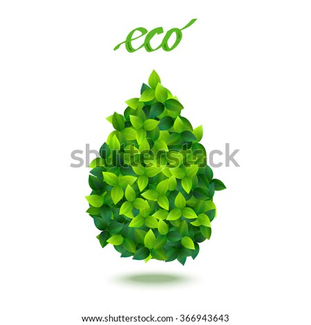 stylized vector drop symbol made of many fresh green leaves - stock vector