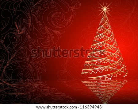 stylized vector gold Christmas tree on decorative floral background - stock vector