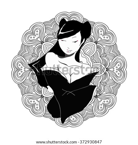 stylized vector illustration of a beautiful geisha girl. Japanese girl. Zentangle. Doodle style. Can be used as adult coloring book, coloring page, card. Mandala - stock vector