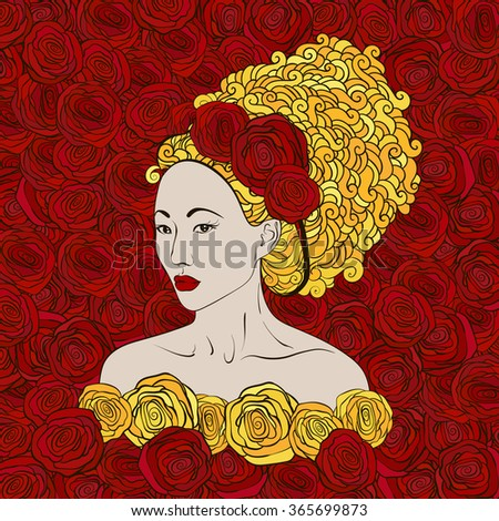 stylized vector illustration of a beautiful geisha girl with red roses and golden hair - stock vector