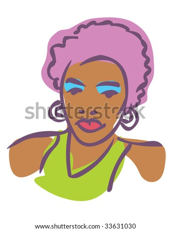 Stylized vector illustration of African American female 80s fashion model - stock vector