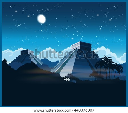 Stylized vector illustration of ancient Mayan pyramids in the jungle at night - stock vector