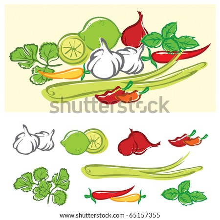 Stylized vector illustration of some fresh cooking ingredients. Each ingredient is on its own layer, very easy to edit. - stock vector