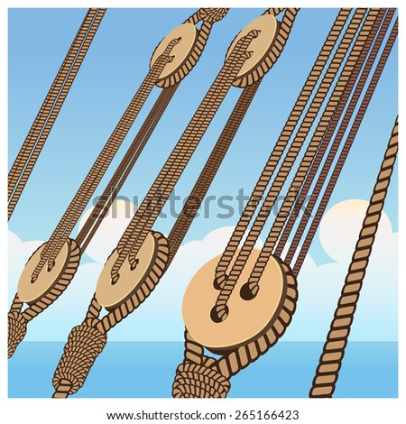 Stylized vector illustration on the marine theme of shipbuilding, sailing vessels, etc. Deadeye and ropes on a background of the sea sky - stock vector