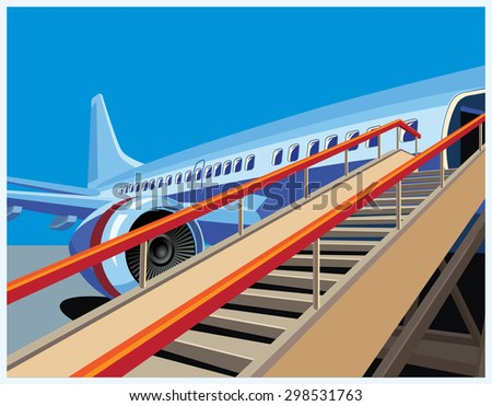 Stylized vector illustration on the theme of civil aviation. Modern jet airplane ready to take on passengers. - stock vector