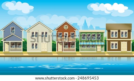 stylized vector illustration seamless horizontally on the theme comfortable cottages suburb. - stock vector